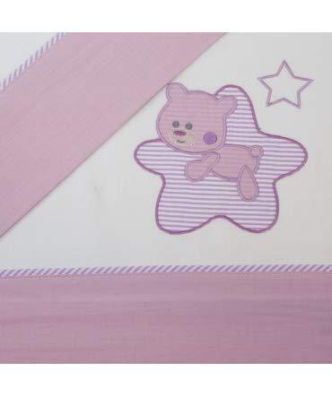Set lenzuola per culla- Lenzuola maxi culla - Lenzuola per culla Flanella Star Bianco/Lilla Maxi culla (70x140cm)