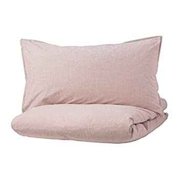 IKEA Bergpalm Duvet Cover and Pillowcases Pink Stripe 004.232.12 Size  Full/Queen  Double/Queen