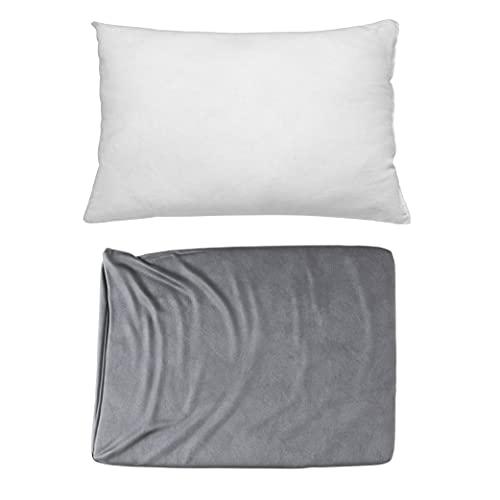 Cojines Sofa con Relleno Incluido Pack de Cojin + Funda de 35x50 en Color Gris / Cojines Decorativos para Sofa , Cama , Salon / Fundas de Terciopelo Elegantes para la decoración del hogar