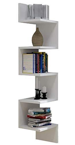 123home24.com Hoekplank, hangrek, wandplank, boekenplank, plank, design, 130 cm (wit)