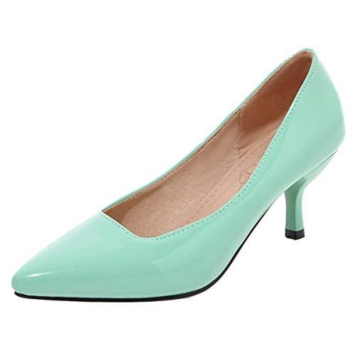 scarpe donna decolte tacco medio primavera LUXMAX Scarpe Donna Decolte Tacco Gattino Spillo Medio Decollete a Punta da Lavoro in Vernice Slip-on Shoes (Verde) - 37 EU