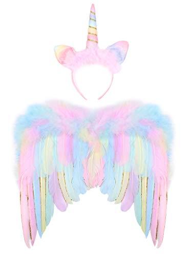 Tacobear Einhorn Flügel Kinder Mädchen Rosa Engel Flügel Feder Flügel mit Einhorn Haarreif Prinzessin Flügel Einhorn Kostüm Zubehör für Halloween Karneval Cosplay Party Fasching