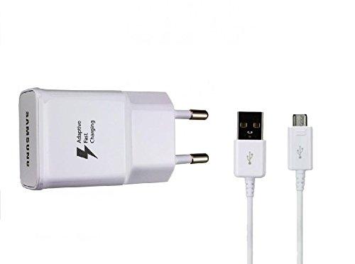 Original Samsung Aufladekabel + EP-DG925UWZ in Weiß Weiss für SM-G920F Galaxy S6 2.0 USB Datenkabel Netzteil 2A Ampere 2000 mAh Adaptive Fast Charging Schnellladegerät Ladegerät Ladekabel MicroUSB