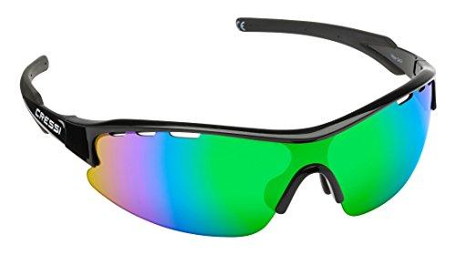 Cressi Vento Gafas de Sol, Unisex Adulto, Negro/Lentes Reflejado Verde, Talla Única