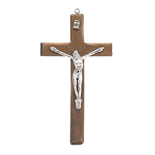 KOUJING Houten Jezus Kruis Hanger Christus Lijden Standbeeld Kruis Religieus Gebed Jezus