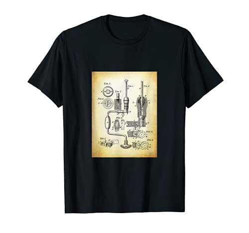 Taladro de Mano Camisa con Patentes Retro Antiguo Cool Camiseta