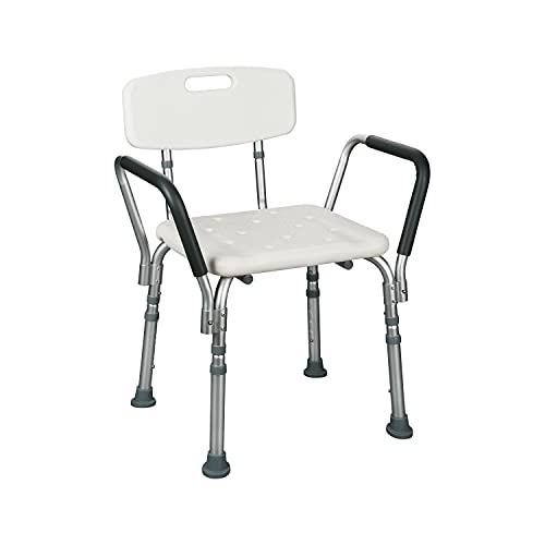 flexilife Duschsitz Duschhocker mit Rückenlehne und Armlehne bis 110 kg belastbar