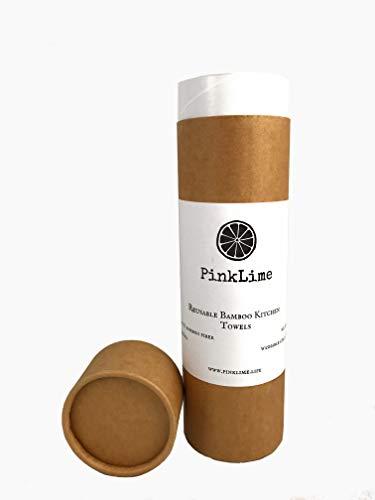 PinkLime Premium Bambus Küchenrolle mit Aufbewahrung - saugstark, waschbar und wiederverwendbar. Gut für Umwelt und Geldtasche