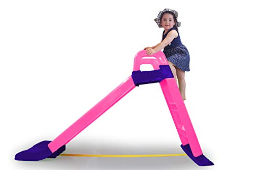 Jamara 460503 Funny Pink-Made of Durable Plastic Slide Spout for Soft Landings, Wide Steps and Safety Grips, Stabilising Rope