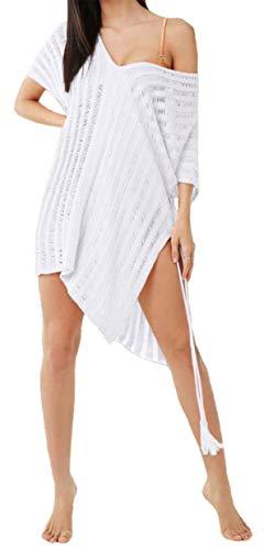 Mujer Vestidos Crochet Playa Bikini Cover Up con Borla Cuello V Tallas Grandes Blanco/Rosa (Blanco)