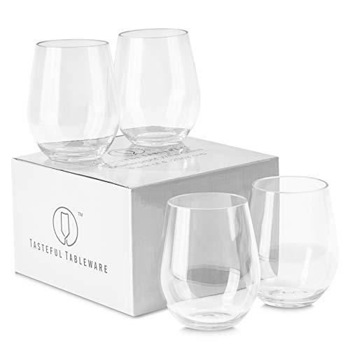 Tasteful Tableware 100 Tritan Plastic Shatterproof Wine Glasses Unbreakable Stemless Wine Glasses Crystal Clear Unbreakable Stemware Indoor and Outdoor Wine Glasses 20 oz Stemless Wine Glasses