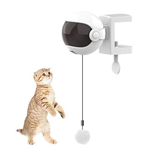 Iwinna Bola eléctrica para gato – 60 cm de elevación automática de resorte de la varilla del gato juguete divertido de la bola interactiva juguetes