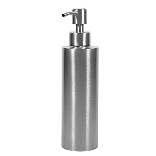 SISVIV Dispensador de Jabón Líquido 350ML Acero Inoxidable 304 Dosificador Jabon para Cocina Baño Lavabo Desinfectante Manos Champú Gel de Ducha Plata