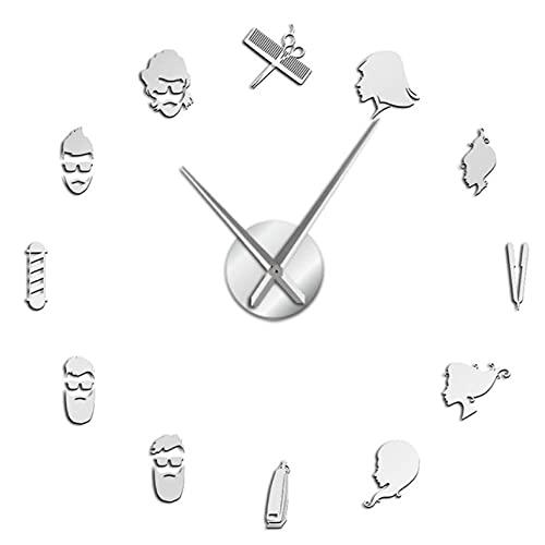 Mute DIY Wall Clock Barber Shop 3D DIY Mute Wall Clock Wall Art Decor Giant Frameless Clock Watch with Mirror Effect Sticker-27_Inch