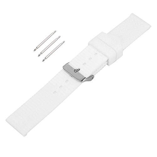 Correa de reloj de silicona de 20 mm / 0.8 in 2 colores para relojeros/trabajadores reparadores de relojes patrón de grano de neumáticos con 3 barras de resorte (blanco)