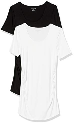 Amazon Essentials Maternity 2-Pack Short-Sleeve Rouched Scoopneck T-Shirt, Noir/Blanc, M