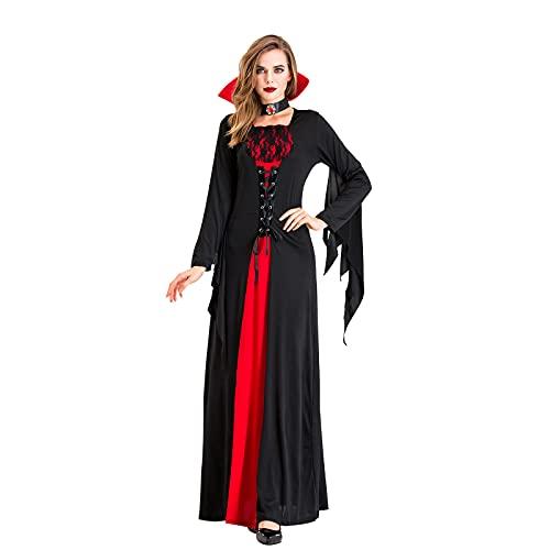 PEKLOKIW Corsé gótico de cintura larga con blusa mini corsé corto Halloween fiesta Steampunk, mujer Halloween Cosplay rojo vestido de bruja estampado gótico (negro --C, L)