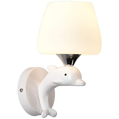 Lámpara de pared LED de habitaciones Resina creativa personalidad pared dormitorio de la lámpara de noche sala de estar moderna minimalista pasillo de cristal de la lámpara de la seta de Dolphin niños