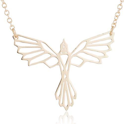 Peculiaro Collar Ave Fenix Oro, Joya de Origami & Collar geométrico Oro Mujer, bañado en Oro, Joyería para niñas y Mujeres, perteneciente a la colección Geometric Nature