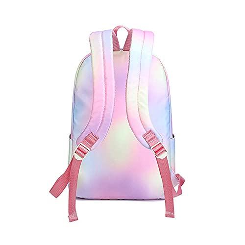 TYXL Zainetto Donna, Zainetto Bambina, Flash Sfumato Arcobaleno Borsa da Scuola Leggera Alla Moda a Contrasto di Colore per Zainetto per Laptop da 15,6 Pollici Sottile