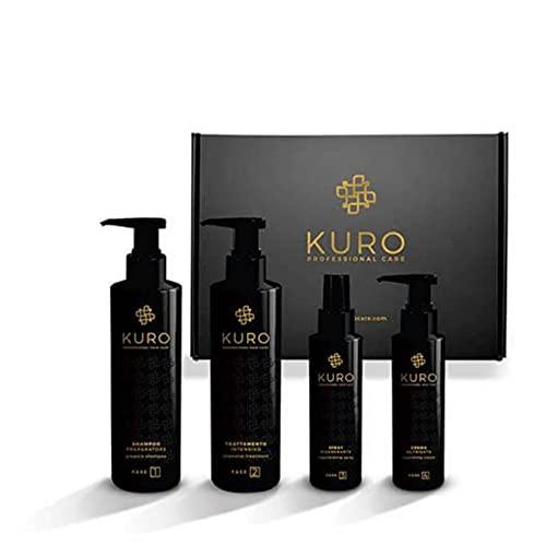 Kuro - Tratamiento Reconstructor Capilar - Champú 250ml, Mascarilla Reestructurante 250ml, Spray Regenerador 100ml, Crema Nutritiva 100ml