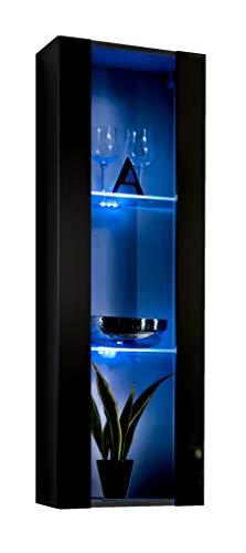 Vetrinetta sospesa Modello Zarco Nero con LED - Larghezza: 40cm x Altezza: 126cm x profondità: 29 cm