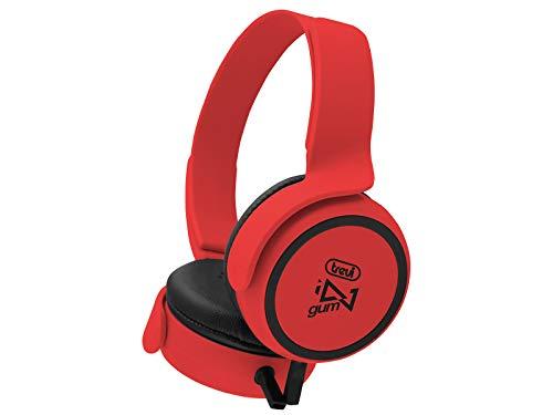 Trevi DJ 673 M hoofdtelefoon stereo met microfoon, rood