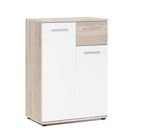 AVANTI TRENDSTORE - Jack - Sideboard con ante e cassetti in colore rovere artigianale e bianco. Disponibile in diverse misure. (Quercia Sonoma, 60 x 85 x 35)