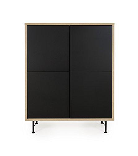 tenzo 2864-682 FLOW Designer Rangement 4 portes, Structure particules mélaminé chêne. Façades : panneaux MDF mat. Pieds en acier laqué noir, 137 x 111 x44 cm (HxLxP)