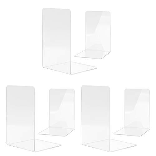 MSDADA Buchstützen, Hochwertiges Acryl Transparent Buchstützen für Kinder Erwachsene zum Arbeitszimmer, Büro, Schule(3 Paar)