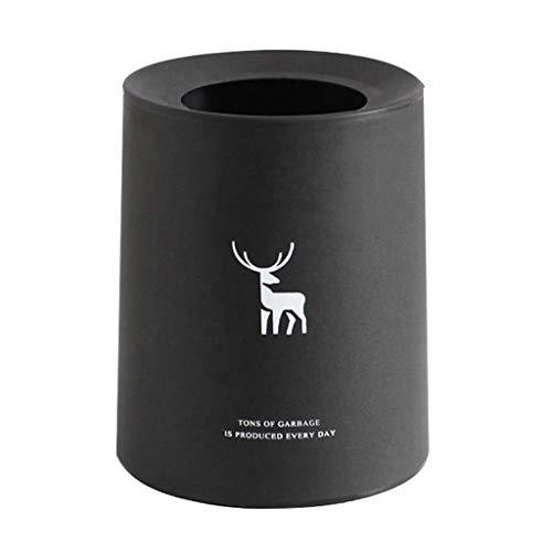 Cubo de Basura Simple Doble Bote de Basura Hogar Sala de Estar Dormitorio Cocina Baño Papel de desecho Creativo Cubo de Almacenamiento Papeleras (Color : Black, Size : M-8L)