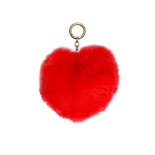 キーホルダー 可愛い チャーム かわいい レディース バッグチャーム ハート ファー キーリング ふわふわ もこもこ 赤 黒 ピンク ストラップ