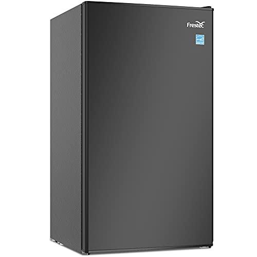 Frestec Small Refrigerator with Freezer, 3.1 cu ft Mini Fridge Retro Compact Refrigerator for Bedroom, Dorm, Office, Energy Star Ultra-Quiet Adjustable Temperature,(Black)