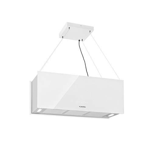 Klarstein Kronleuchter - Campana extractora en isla, Flujo aire hasta 600 m³/h, Iluminación LED, Eficiencia energética Clase A, 3 niveles, Filtro grasa, Control táctil, 90 x 35 x 35 cm, Blanco