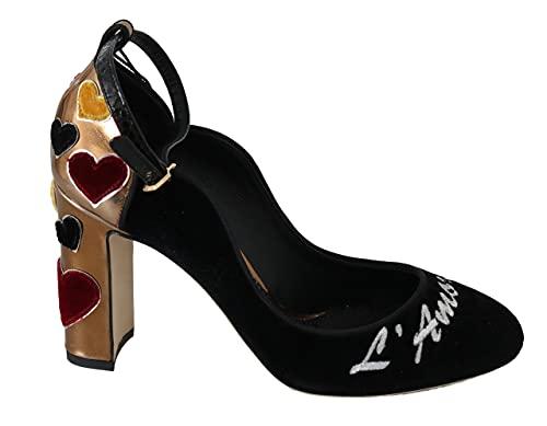 Dolce & Gabbana Black Velvet Gold Leather Hearts Heels Shoes Size 9.5