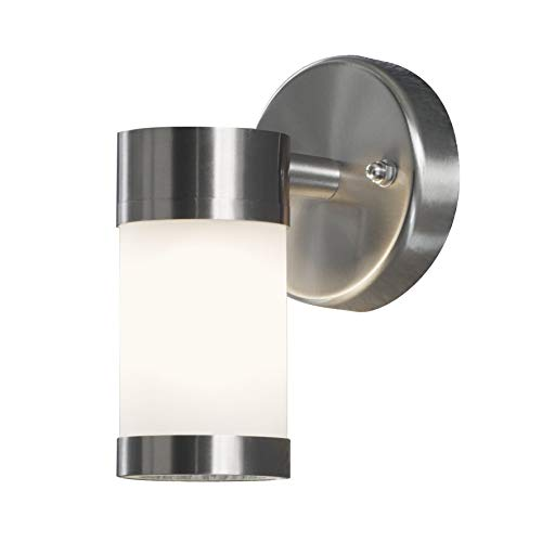 Konstsmide 7593-000 Modena Lampada da Parete, BxPxH 6x9x16 cm, 1 x 25 cm, IP44, in Acciaio Inox