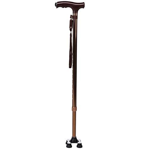 PSHHLBR Muletas Bastón Antideslizante para Ancianos Bastón Ligero De Aluminio para Damas Bastón Ajustable para Hombres con Luz (Color : Brown, Size : 69.5-92.5cm)