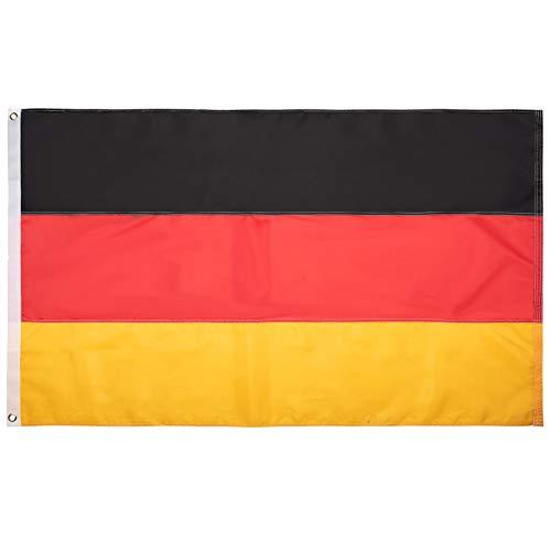 FLAGBURG Deutschland Flagge 90 x 150 cm ,Deutsche Fahne mit Genähten Streifen(Nicht Gedruckt),Wetterfeste Nationalflagge mit Messingösen, Lebendige Farbe und UV-beständig für Außenbereich