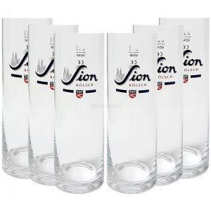 Sion Kölsch Bier Glas Gläser Set - 6X Gläser 0,4l geeicht Altbierglas Pils Stangenglas Kölschglas Stange