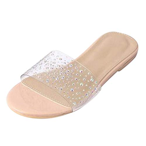 Wide Width Clear Slipper Flat Slides Sandals for Women, Womens Bling Diamond Transparent Mules Slip On Shoes Beige