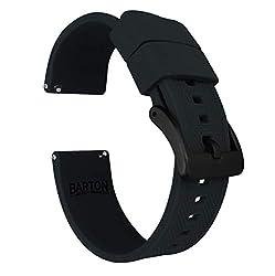 commercial 23mm Black-Silicon Burton Elite Watch Band-Quick Release Black Buckle victorinox watch strap