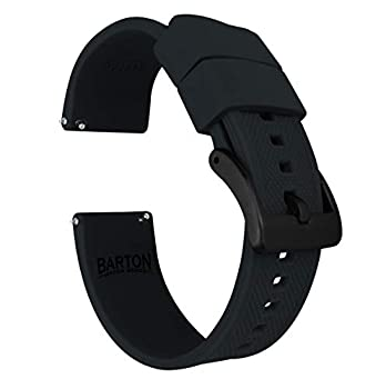 22mm Black - Barton Elite Silicone Watch Bands - Black Buckle Quick Release