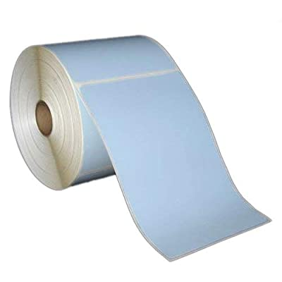 """4x6 Inch Direct Thermal Paper Labels - Blue - Rolls - 5"""" OD - 1"""" Core - 430 Labels Per Roll - 6 Rolls Per Box - 1 Box - for Zebra and Other Thermal Barcode Label Printers (L-SDF-40601P51B)"""