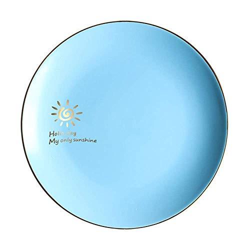 XUSHEN-HU Ceramic Ceramic Scrub Western Plate Fruit Plate Gold Side Plate Shallow Dish Nordic Creative Tableware Blue X 10 Inch Vintage