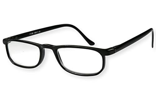 Leesbril zwart glanzend met smalle beugels zeer licht voor dames heren leeshulp kijkhulp 1.0 1.5 2.0 2.5 3.0 model 13-611 Dioptrien 3.5 zwart glanzend