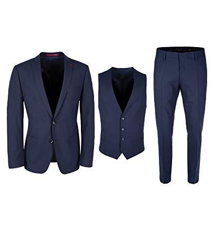 Roy Robson Herren Anzug Slim Fit 3-teilig Techno Suit aus Schurwolle Mix Business Stretch Abendanzug - Set, Italienisches Blau, 48