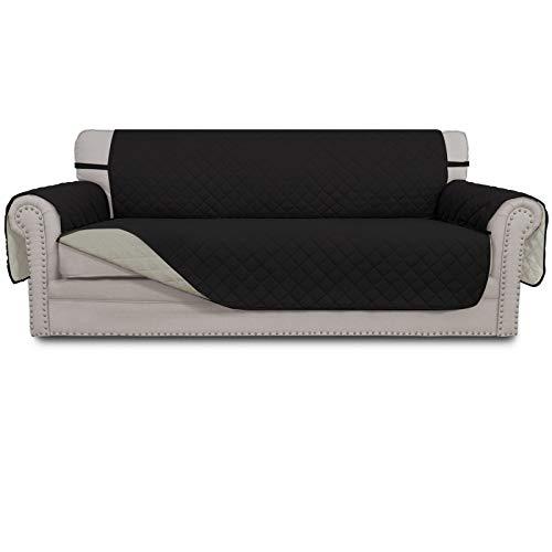 Greatime copridivani, slipcovers, Reversibile Trapuntato mobili Protector, migliorata Couch Scudo con Cinghie Elastiche, Anti-Scivolo, Pet Bambini, Bambini, Cani Divano Nero/Beige