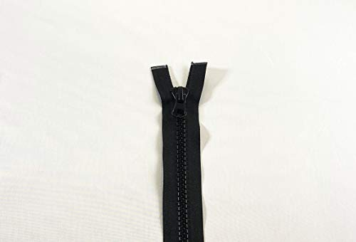 NO.10 Double Pull Plastic Zipper Open End Heavy Duty from 24 to 220 inch, (Black (322) - Autolock Puller, 80 inch - 200 cm)