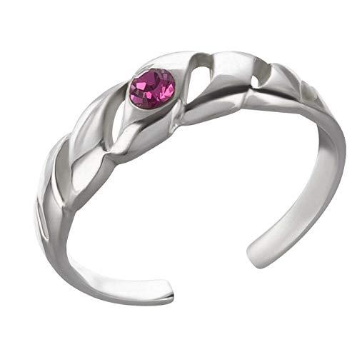 FIVE-D Zehring Zehenring Kristall 925 Silber (Pink)
