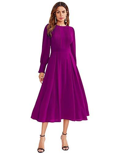 DIDK Damen Plissee Kleider Rundkragen A Linie Faltenkleid Elegant Langarm Midikleid mit Reißverschluss Violett#2 XL